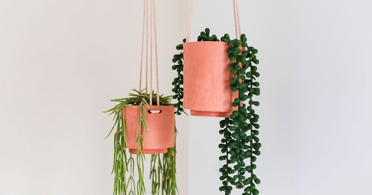 Hanging plant pots made from clay