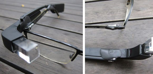Google Glass attached to prescription glasses with Sugru and magnets