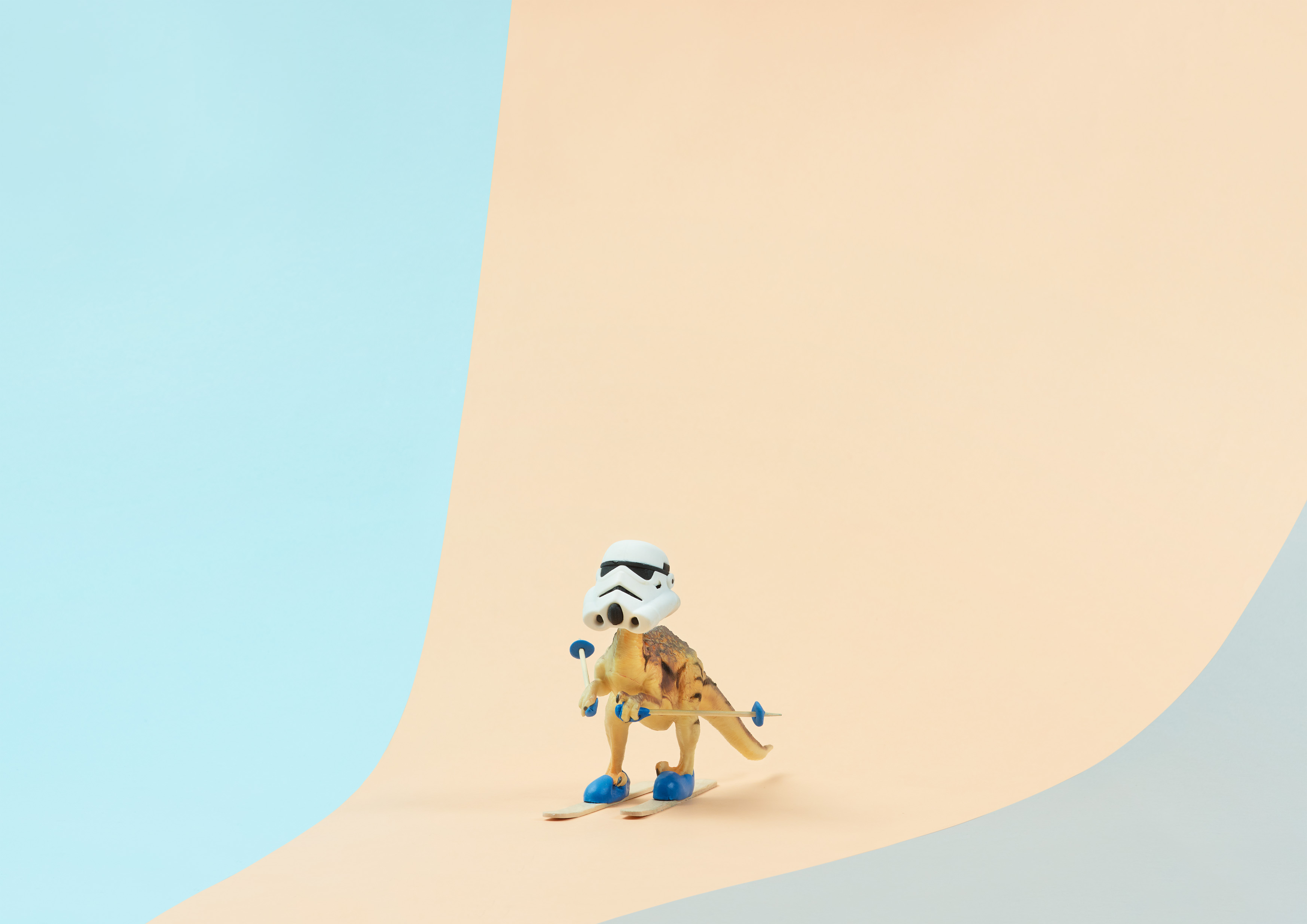 toy dinosaur skiing