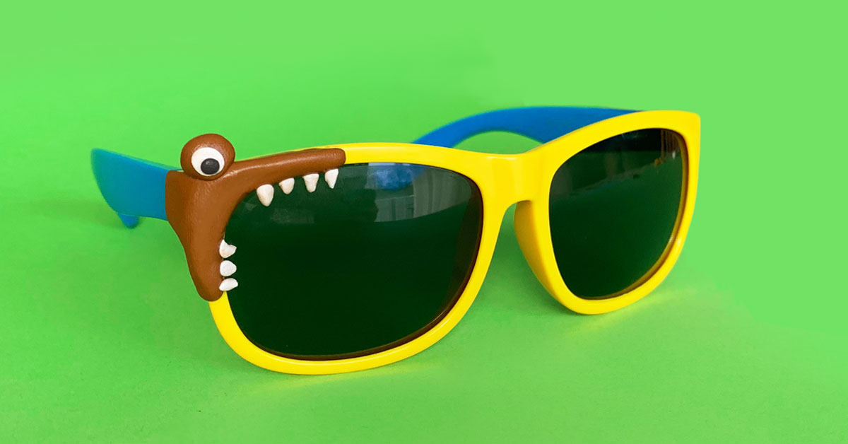 Sunglasses with crocodile Sugru fix