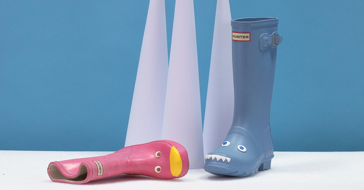 rain boots customised with Sugru