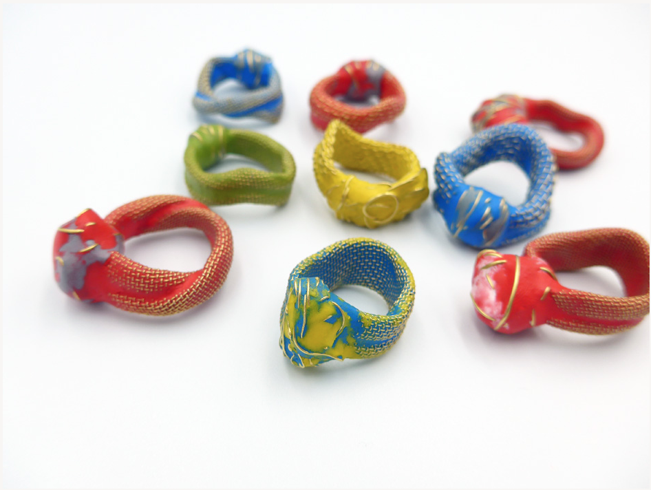 Alison Counsell rings made of metal mesh and Sugru