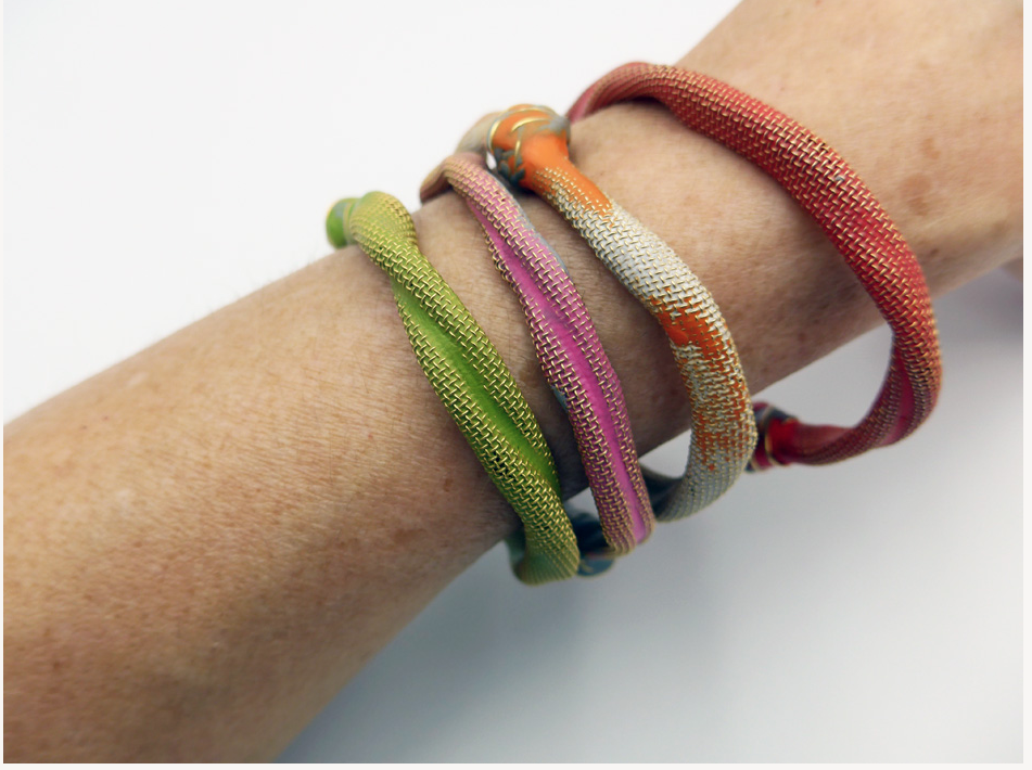 bracelets made of metal mesh and sugru