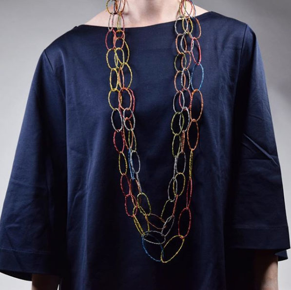 necklace made of metal mesh and sugru