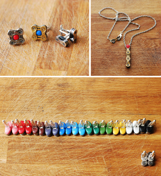 jewellery made from bike parts and sugru