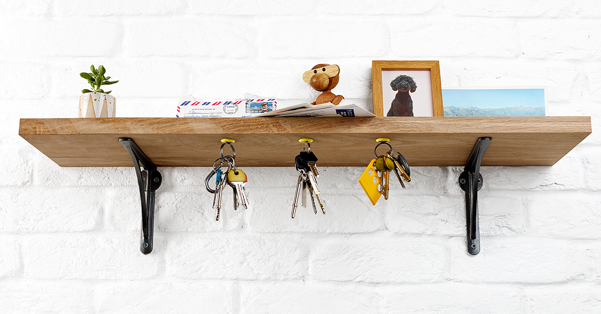 keys hang from shelf with Sugru and magnets