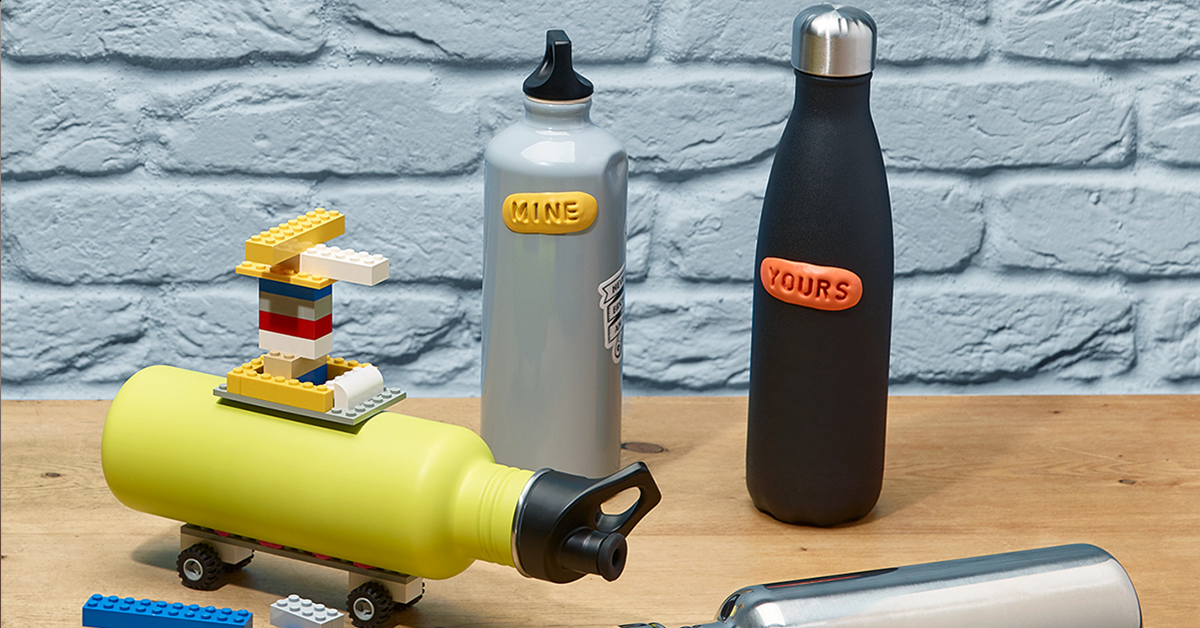 water bottles customised with Sugru