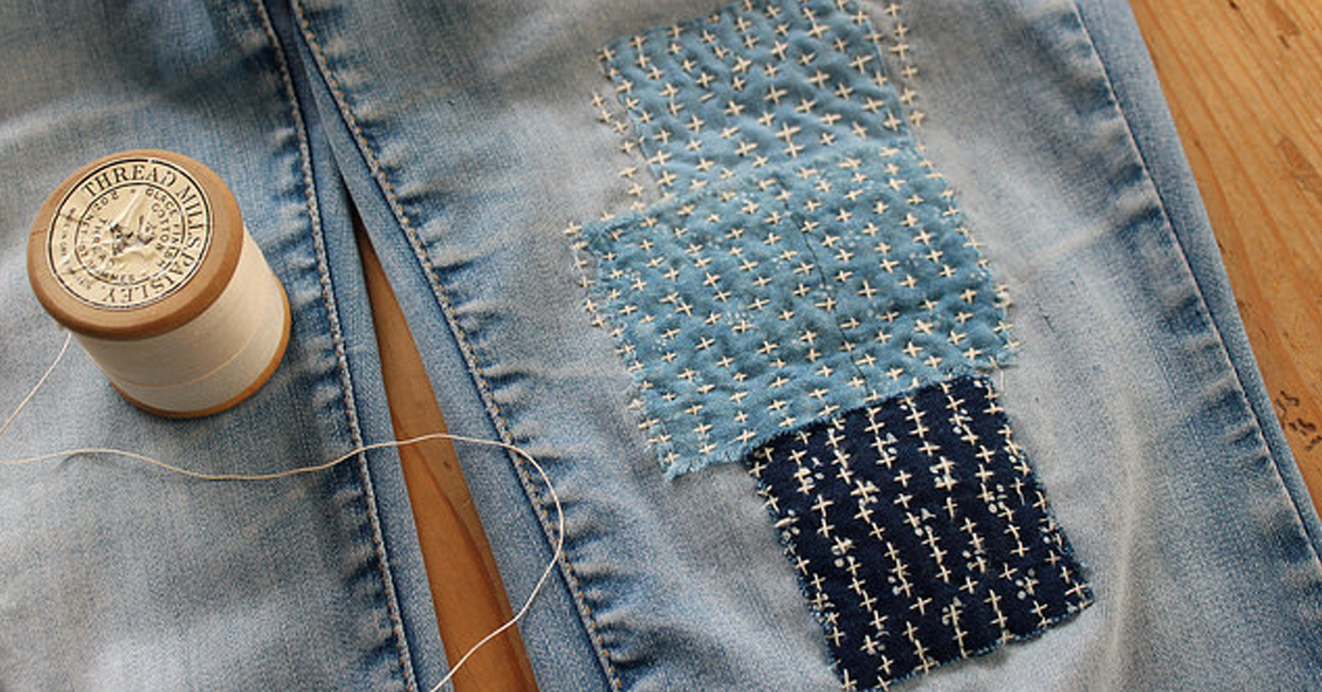 patched jeans using boro method