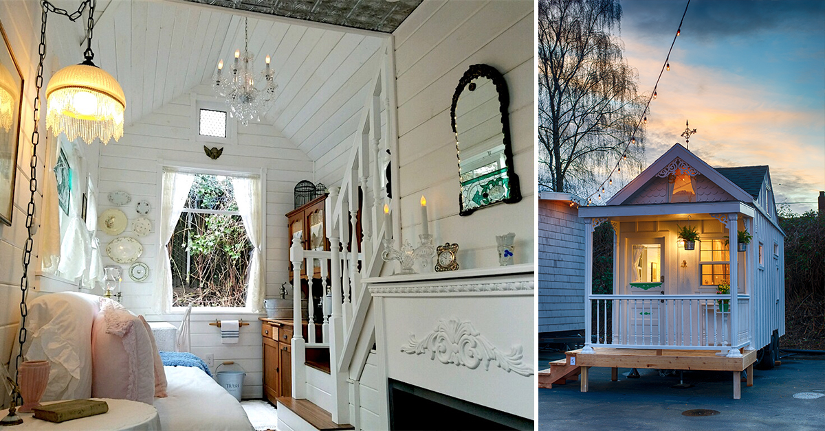Inside and outside a tiny home at the Tiny Digs Hotel