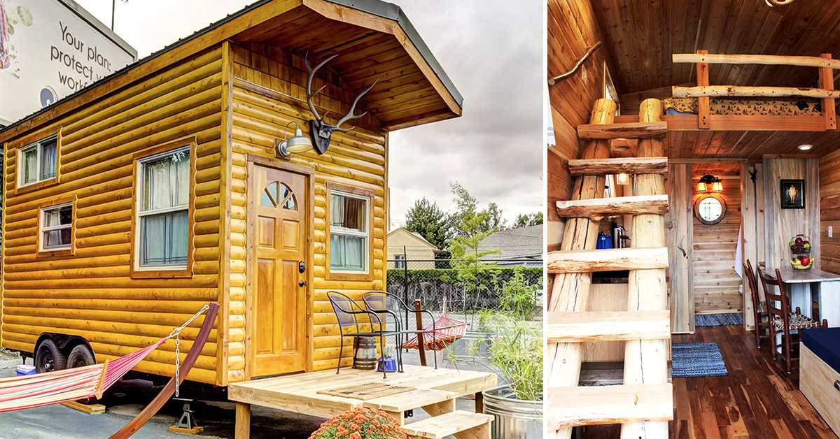 Outside and inside a tiny home at the Tiny Dig Hotel