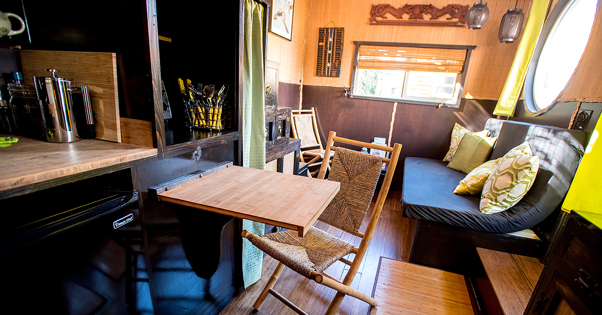 Inside a tiny home at the Tiny Digs Hotel