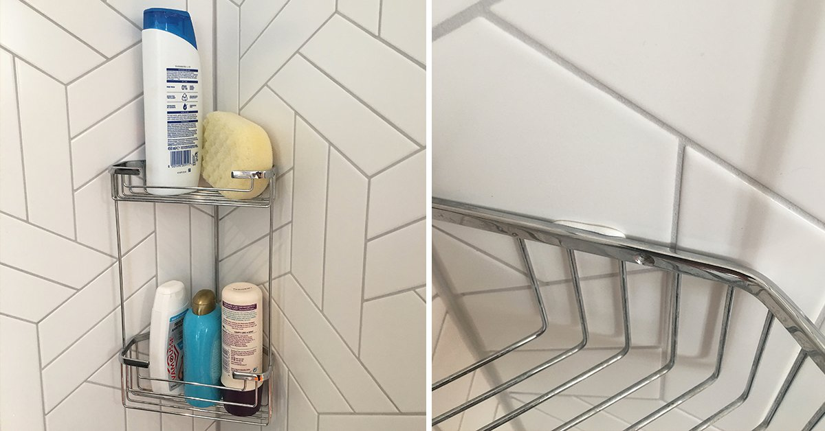 shower caddy mounted to tiles with Sugru