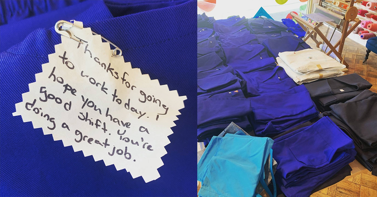 scrubs made for nhs with personal notes attached