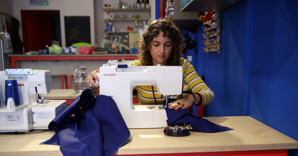 brook dennis using a sewing machine