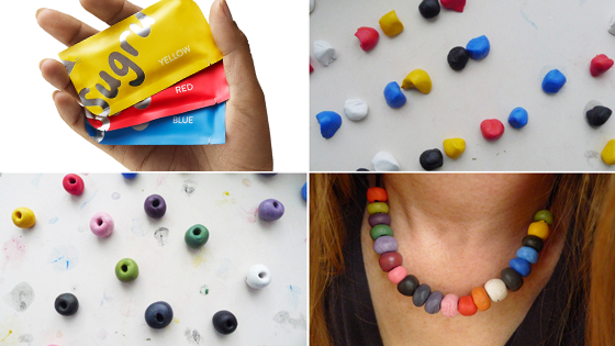 necklace made of Sugru beads