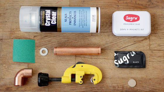 Items needed for mounting copper tubes with Sugru and magnets
