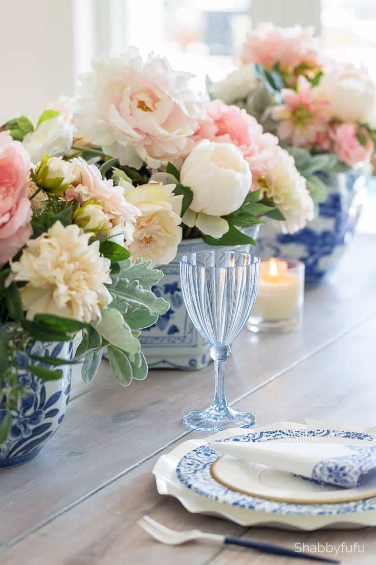Faux flower arrangements by Janet Coon