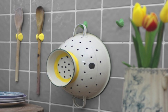 utensils hang from wall with Sugru hooks