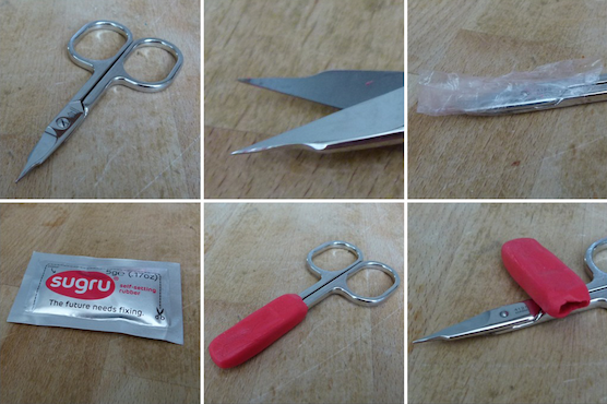 scissors with removable Sugru cover