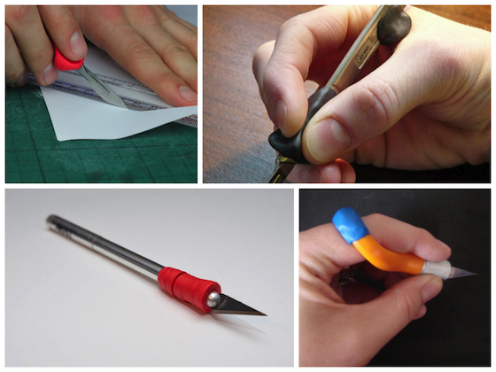 scalpels customised with Sugru grips