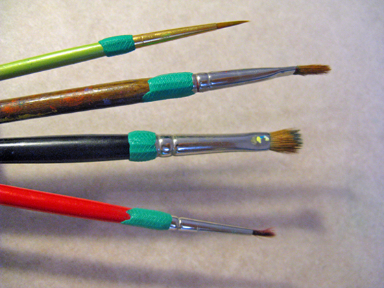 Sugru covers on paintbrushes
