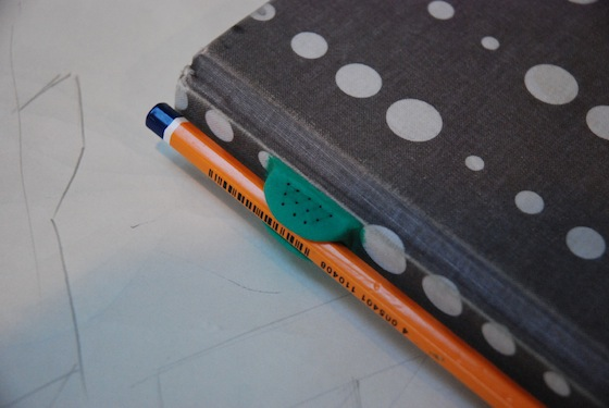 Sugru pen grip on notebook