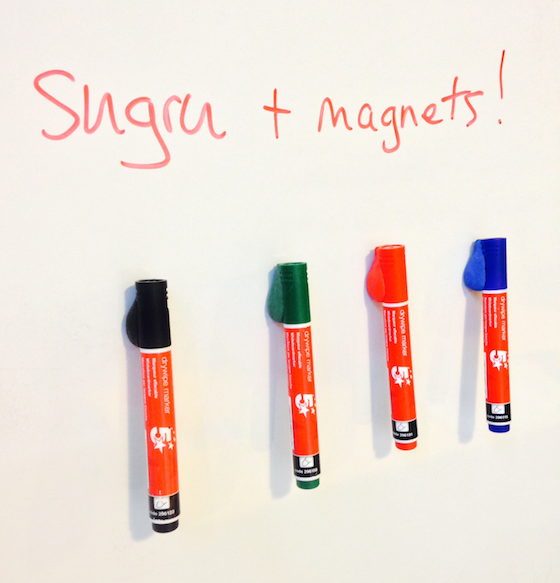 Sugru and magnets on whiteboard markers