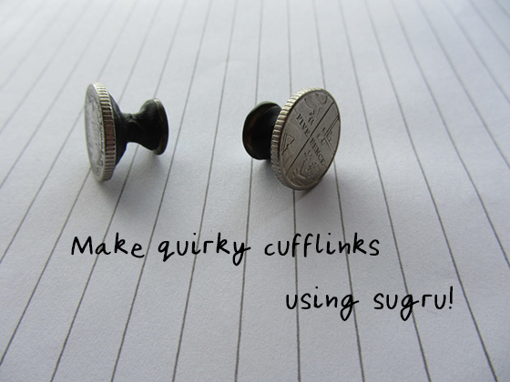 cufflinks made of Sugru and coins