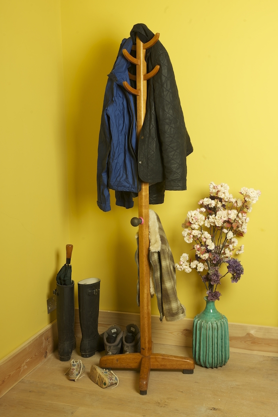 Coat stand with additional hooks for children's clothes, stuck down with Sugru