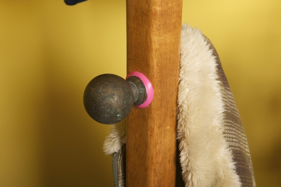 Additional hook attached to coat stand with Sugru