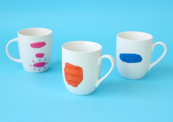 mugs personalised with stamped sugru