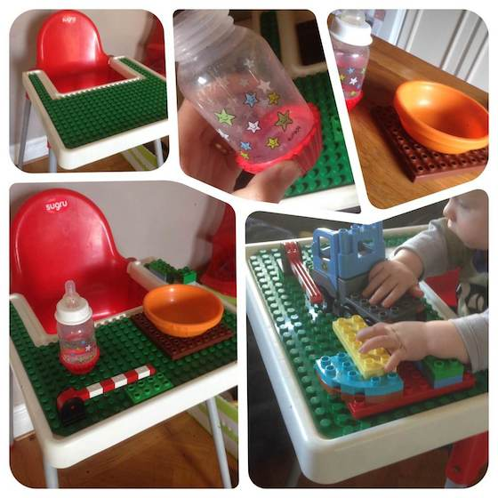 highchair with Lego table