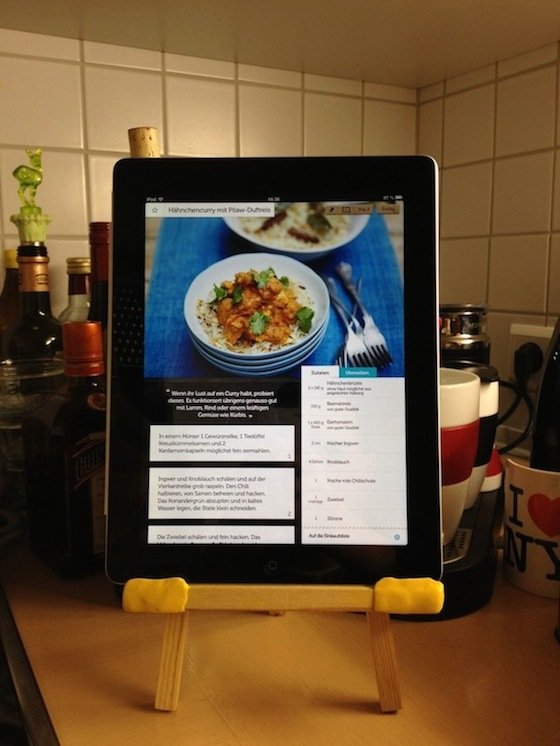 small easel and Sugru made into tablet stand