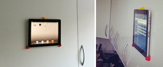 tablet mounted to outer cupboard door with sugru