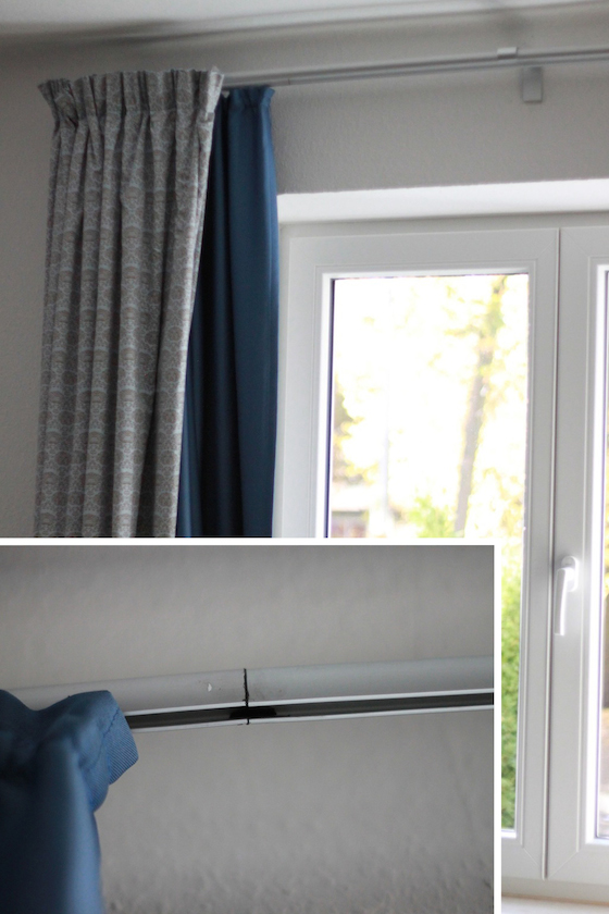 gap in curtain rail filled with Sugru