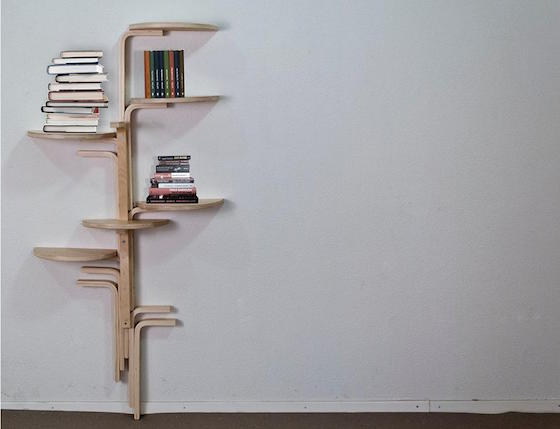 bookshelves positioned as tree branches