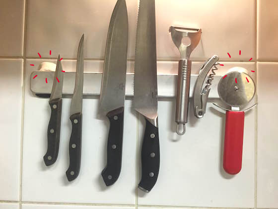 magentic knife rack stuck to wall with sugru
