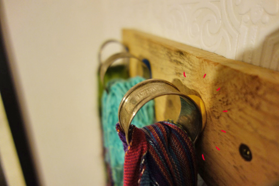 scarf holders made with napkin holders and sugru