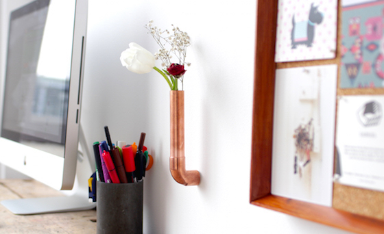 Copper vase mounted to wall with Sugru and magnets