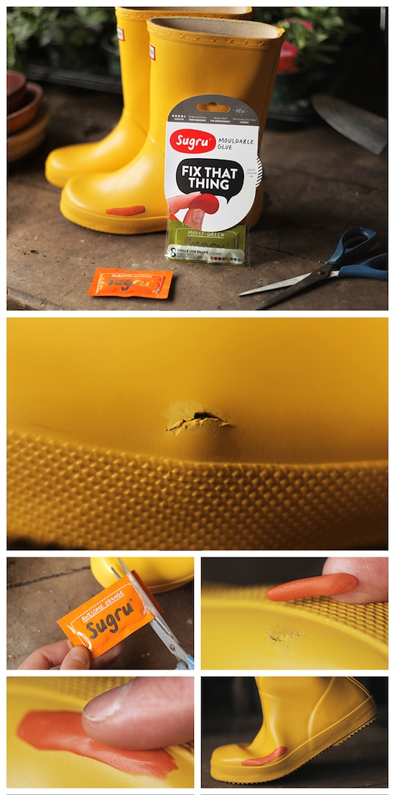 Rain boots patched with Sugru