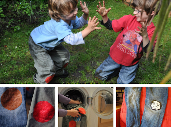 Sugru patches on kids clothes