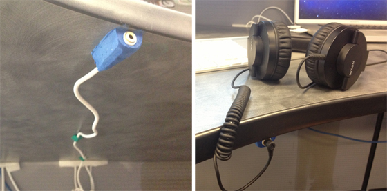 Cable extender for headphones stuck to table underside with Sugru