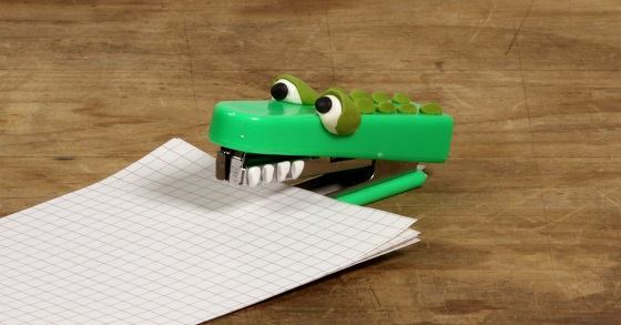 stapler with sugru in the shape of a crocodile