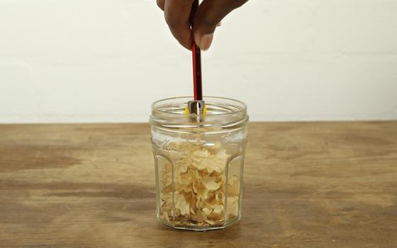 Pencil sharpener pot made with jar and Sugru
