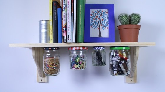 Jars hang from shelf with Sugru
