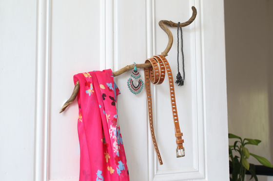 Wood stuck to wall with Sugru, used as accessories hanger