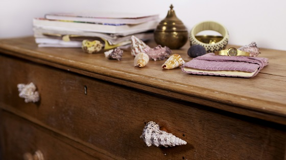 Shells used as drawer knobs with Sugru