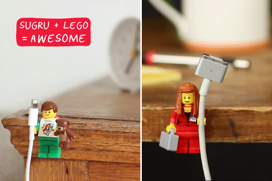 Lego minifigures as cable grips, stuck down with Sugru