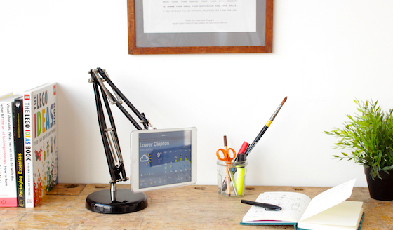 Tablet stand made from old lamp and Sugru