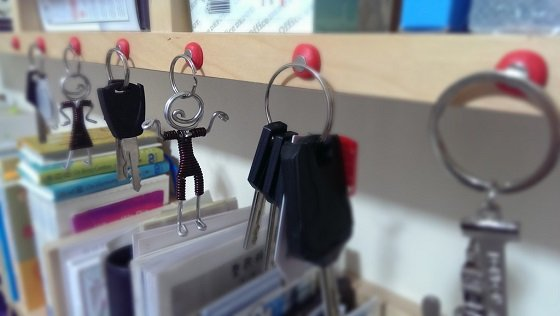 Keys attached to magnet mounted with Sugru